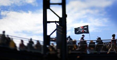 Jolly Roger flies over the rotunda. (Steve Mellon/Post-Gazette)