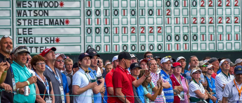 Spectators watch the action on the 18th hole on the opening day of the 2016 U.S. Open. (Steve Mellon/Post-Gazette)