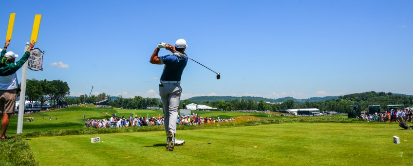 Jason Day tees off from the12th hole on Friday. (Lake Fong/Post-Gazette)
