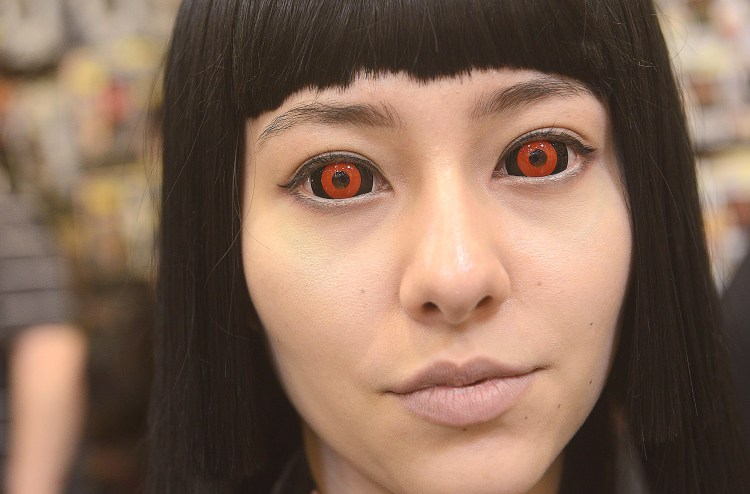 Larry Roberts/Post-Gazette    20160417   steel city con A2 layout Kayla (cq) Ebersole (cq), from Japan, who at 18 is attending school in Monesson, decked herself out with contact lenses to portray Hell Girl, a Japanese anime character at Steel City Con, April 17, 2016