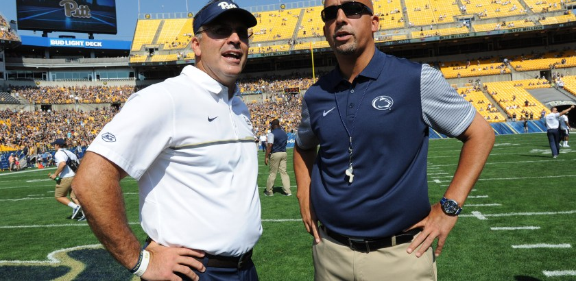 Pitt head coach Pat Narduzzi greets Penn State head coach James Franklin before Saturday's game. (Matt Freed/Post-Gazette)