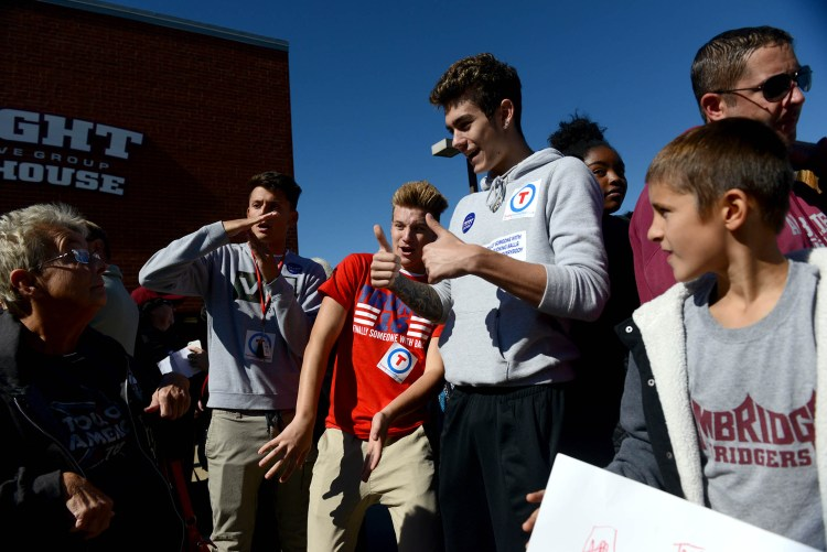 Donald Trump supporters wait in line to enter Ambridge High School for a Trump campaign event. Michael Henninger/Post-Gazette
