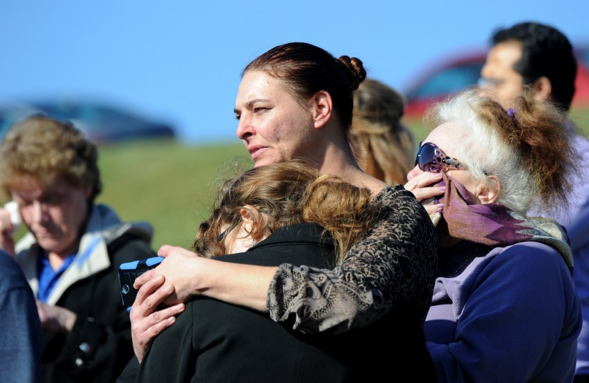 Hundreds of people gather at Oak Spring Cemetery in Canonsburg to pay respects to Dalia Sabae.