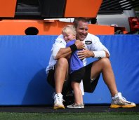 Pittsburgh Steelers quarterback Ben Roethlisberger gets a hug from daughter Baylee Marie on Saturday July 29, 2017, at Latrobe High School in Latrobe, Pa. (Peter Diana/Post-Gazette)