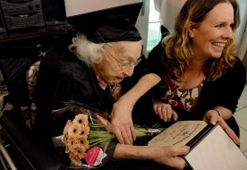 Theresia Brandl, 105, a resident of Oakdale, shares a laugh with her great granddaughter Justine Reyes, 41, after receiving her Sto-Rox High School diploma on Wednesday May 17, 2017. Brandl attended Stowe Township High School, but left before she graduated in order to help take care of her family. The Twilight Wish Foundation helped to make Brandl's wish come true. (Lake Fong/Post-Gazette)