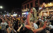 After the Penguins beat the Predators 2-0 in Game 6 and won the Stanley Cup on Sunday, June 11, 2017, revelers packed Carson Street on Pittsburgh's South Side to celebrate. (Steve Mellon/Post-Gazette)