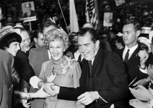 Nixon and his wife Pat at Civic Arena