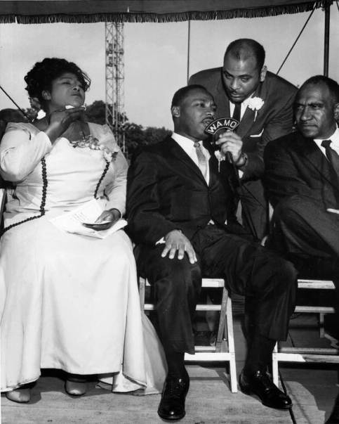 """1961: Martin Luther King being interviewed by WAMO's Charles Gordon during WAMO's broadcast of """"Freedom Jubilee"""" at Forbes Field July 9, 1961."""