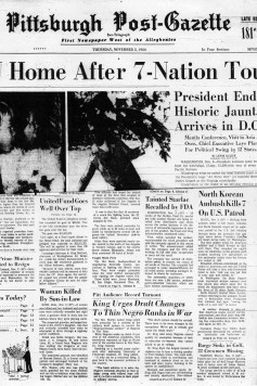 Newspaper clipping from Post-Gazette the day after Dr. King spoke at Pitt