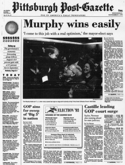 The Post-Gazette announced Murphy's election to mayor.