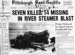 The Pittsburgh Post-Gazette front-page with a story about the Island Queen tragedy