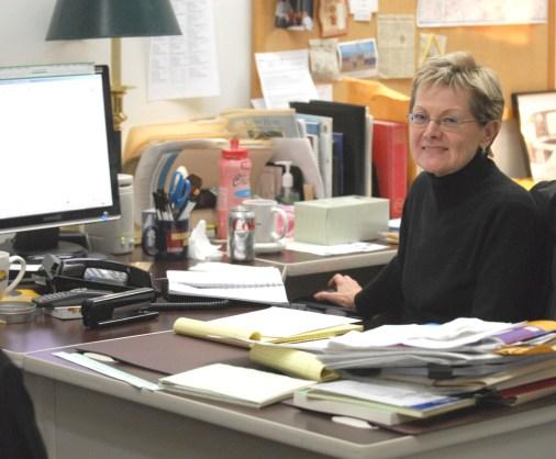 Mary Leonard at her Post-Gazette office