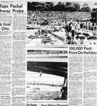 """""""100,000 Pack Point on Holiday"""" (The Pittsburgh Press, Sept. 3, 1974)"""