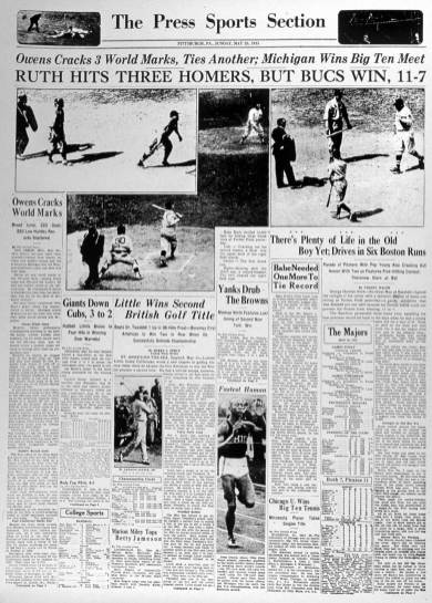 Newspaper coverage of Babe Ruth's historic day.