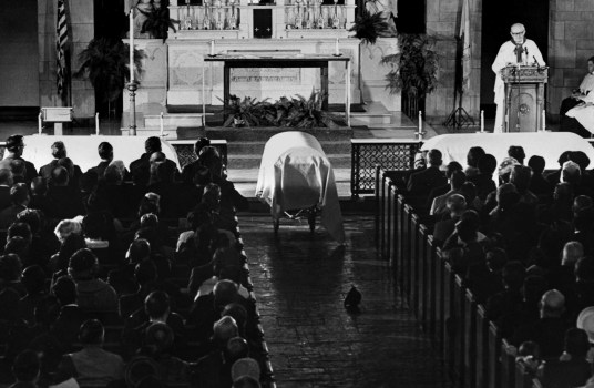Funeral mass for the Yablonskis was conducted by Msgr. Charles Owen Rice. (Pittsburgh Press photo by Al Hermann Jr.)