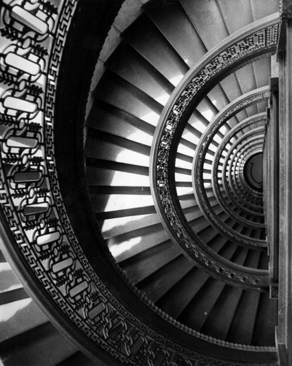 Stairway in the Peoples Bank Building. (Pittsburgh Press photo by Howard R. Moyer)