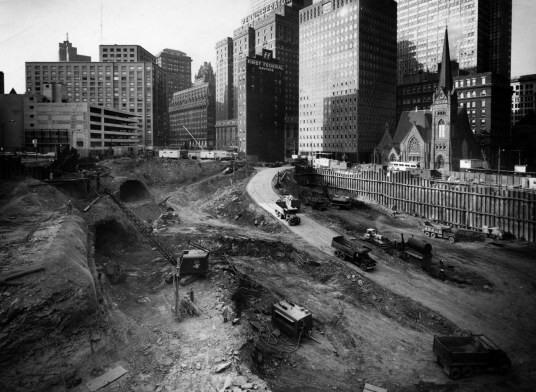 Excavation revealed the presence of an old Pennsylvania Canal tunnel. (Photo credit unknown, circa 1968)