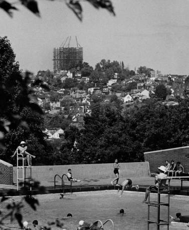 For many communities like Beechview, the rising tower becomes a visual link to the Golden Triangle. (Harry Coughanour/Post-Gazette on Aug. 22, 1969)