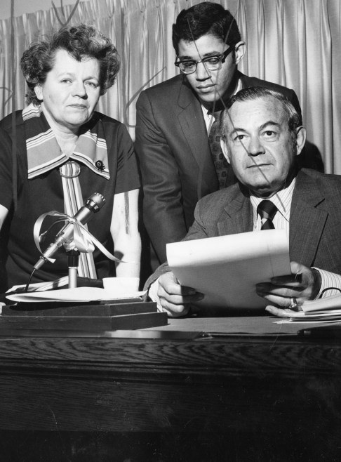 Wilma Scott Heide, Robert W. Goode, Joseph Yaffe, March 17, 1971 (Paul Slantis/Post-Gazette)