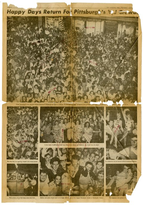 Pittsburgh Press photo page from Aug. 15, 1945.