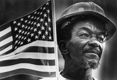 Samuel Moore, cement mason fro California, PA, at a Labor Day celebration in 1984 (Charles Fox/Post-Gazette)