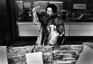 Marie-Claire de Cazotte, former Parisienne now living Downtown, enjoys a shopping trip to the Strip, March 1985. (Thomas Ondrey/The Pittsburgh Press)