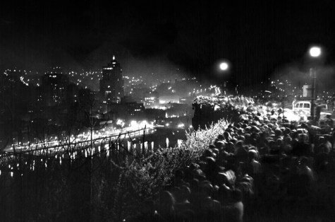 "A crowd gathers on Mt. Washington to watch Pittsburgh's ""blackout rehearsal."" (Pittsburgh Press photo)"