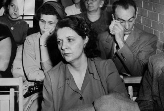 At a preliminary hearing in January 1953, Sophia and Zigmund Bankowski sat behind Katherine Smutko, the woman accused of killing their daughter. (Pittsburgh Press photo)