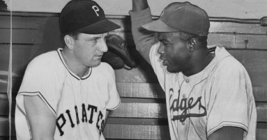 May 9, 1950: Ralph Kiner and Jackie Robinson at Forbes Field on a day when Robinson batted in all three Brooklyn runs in its 3-2 win. (Photo credit: Associated Press)