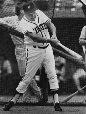 June 26, 1987: Ralph Kiner taking batting practice at a Pirates old-timers game at Three Rivers Stadium. (Darrell Sapp/Post-Gazette)