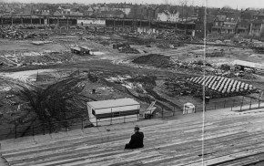 March 1, 1972: John J. Sullivan, 68, of Oakland, watched from the left field bleachers as the rest of Forbes Field vanished. (Albert M. Herrmann Jr./Pittsburgh Press)