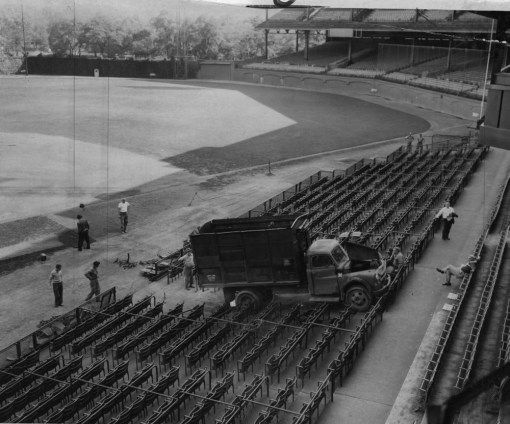 Oct. 15, 1958: Forbes Field employees found a garbage truck in the box seats one morning. Tire tracks indicated a vandal driving it from left field then around the bases. (Photo credit: unknown)