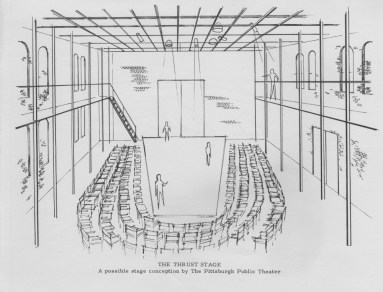 April 1975: This was the theater layout for 24 years before moving to its current home, the O'Reilly Theater in the Downtown Cultural District.