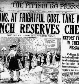 The Pittsburg Press clipping from March 31, 1918, the year when DST was first introduced in the United States.