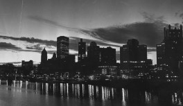 November 1983: A view of the Pittsburgh skyline at dawn -- not an aerial, but we wanted to include it just the same. (Donald J. Stetzer/The Pittsburgh Press)