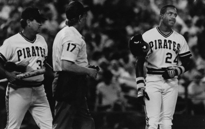 Aug. 16, 1990: Bonds flips his hat in disagreement with the umpire. Future Pirates manager Gene Lamont is on the left. (Mark Murphy/Post-Gazette)