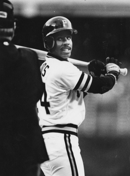April 19, 1988: Bonds batting at the beginning of his third season with the Pirates. (Mark Murphy/Post-Gazette)