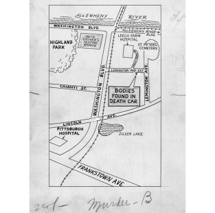 Map showing where the bodies were found. (Pittsburgh Press)