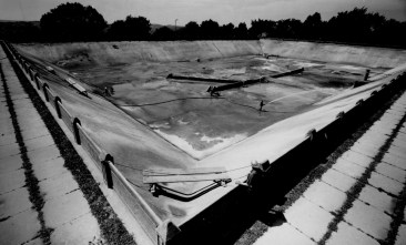 Herron Hill Reservoir was drained for repairs in May 1965. (Credit: The Pittsburgh Press)