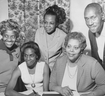 1969: Here are volunteers and employees of Hill House. From left, Thelma C. Jones, Melvie Blackwell, Alfreda Tyson, William Lewis and Sylvia Bose. (Donald J. Stetzer/The Pittsburgh Press)