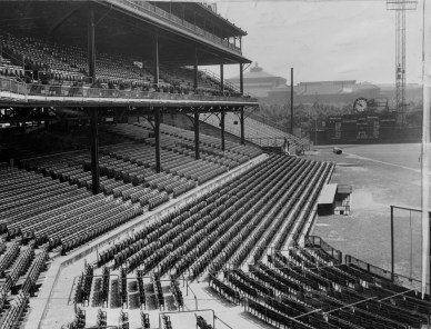A view of Forbes Field and its third base seats, where Reischbaum and Hyde sat that day in 1960. (Morris Berman/Pittsburgh Sun-Telegraph)