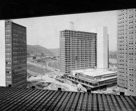 This May 1959 picture of the Hilton was taken from an upper story of the Gateway Four Building then under construction. (Pittsburgh Press photo)