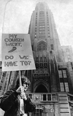 October 15, 1969: Student David Wald in march on Pitt campus (Edward A. Frank/Pittsburgh Press)