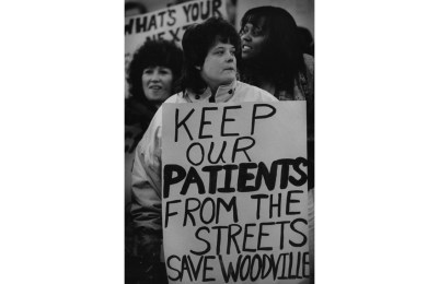 Feb. 22, 1991: After Gov. Casey announced his intention to close Woodville, hospital clerk/typist Vevette McCaskey and many others rallied against the idea. (Tony Tye/Post-Gazette)