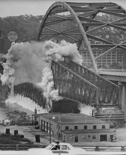 May 29, 1978: A demolition crew imploded the Brady Street Bridge, which stood no more than 20 feet from its $30 million replacement. (Bill Levis/Post-Gazette)