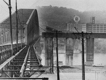 Oct. 3, 1969: A view of the Brady Street Bridge looking toward the South Side. (E. Frank/The Pittsburgh Press)