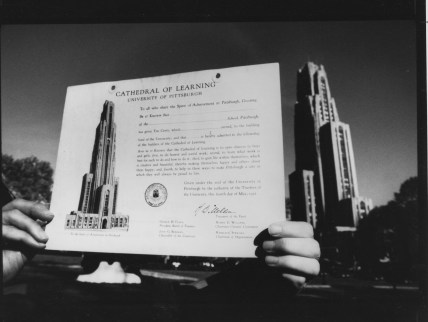1983: The official Spirit of Achievement for children who gave 10 cents to help fund the Cathedral's construction. (Thomas Ondrey/The Pittsburgh Press)