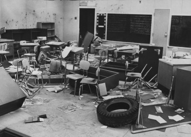 June 29, 1974: A vandalized classroom at Philip Murray School on Rectenwald Street in the South Side. (Edwin Morgan/The Pittsburgh Press)