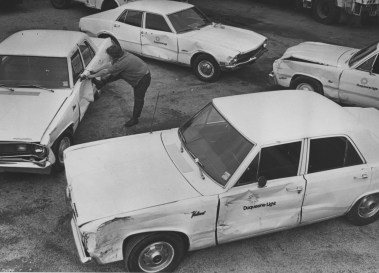 Sept. 3, 1975: Four boys, ages 9 to 12, drove 30 cars, trucks and vans into each other in the Duquesne Light Company Manchester parking lot, resulting in $30,000 in damages. (Anthony Kaminski/Press)