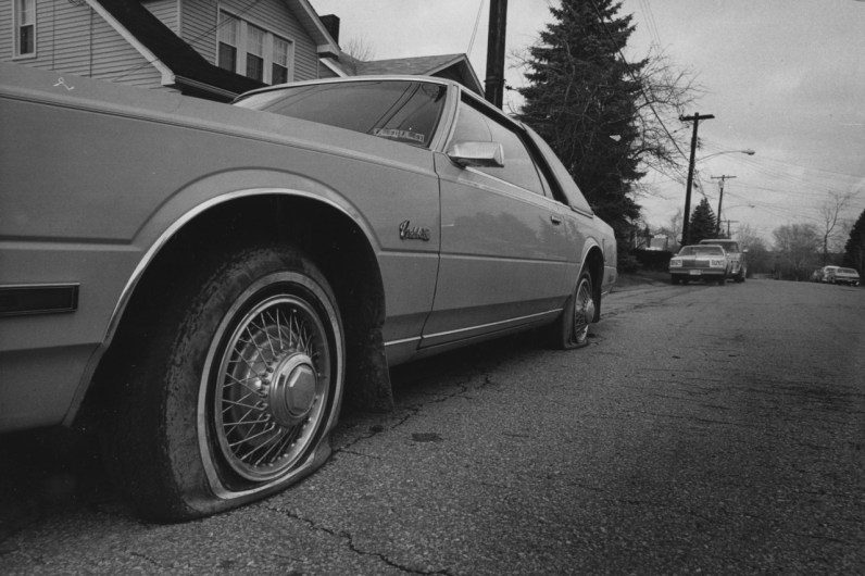 Dec. 31, 1990: What a way to end the year in Penn Hills and Verona. Sixty cars were spray-painted and had tires slashed, mostly on Fourth Avenue. (Pittsburgh Post-Gazette photo)